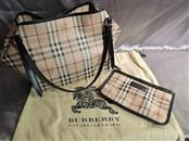 Burberry Haymarket Canterbury Chocolate Tote Bag Purse with Zipper Clutch